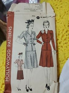 Hollywood  852, Two Piece Dress Pattern, sz b40, h43,  of 1942