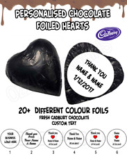 100 PERSONALISED CHOCOLATE HEARTS -Melt in Mouth Cadbury- WEDDINGS / BOMBONNIERE
