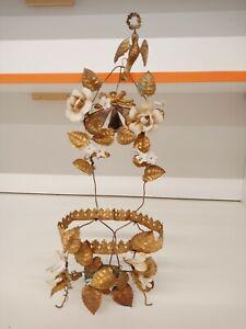 Ancienne Grande Garniture de Globe de Marié Métal Doré Fleurs en Biscuit