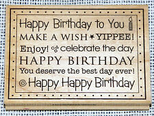 Large Craft Rubber Stamp Happy Birthday To You Wish Celebrate Best Day Ever