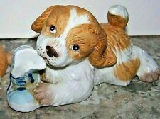 Vintage Homco Dog # 1405 Chewing On Shoe Figurine