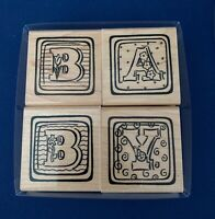 """Wood Mounted Rubber Stamps by """"Close to my Heart""""  B A B Y Each 2"""" Lot of 4"""