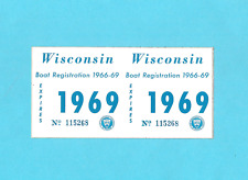 Vintage 1969 Wisconsin Dnr Boat Registration Stickers License Decal