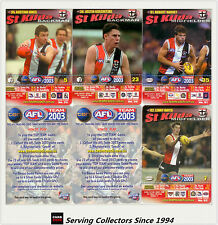 2003 AFL Teamcoach How To Play Trading Card Team Set St Kilda (9)