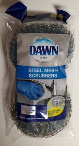 2 Pk Dawn Steel Mesh Scrubbers With Sponge Inside For Stainless Steel Cookware