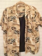 Womens L Notations Polyester Twin Look Blouse Top Brown Black Print