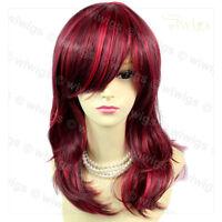 Wiwigs Medium Faceframed Burgundy Mix Wavy Skin Top Ladies Wig