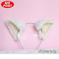 Lolita Accessories Headband Hair Clip Lovely Cosplay Cat Ears White & Fleshcolor