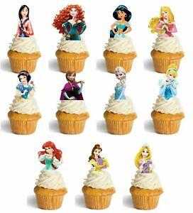 Princess Birthday Cup Cake Toppers - Belle Ariel Rapunzel Cinderella