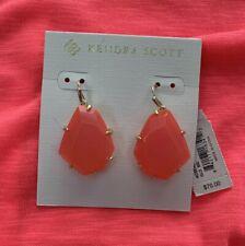 Kendra Scott Rosenell Gold Drop Earrings Neon Pink Howlite NWT $70