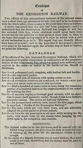 c1845 Antique Victorian Print LONDON - CATALOGUE OF THE KENSINGTON RAILWAY