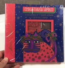 Rare Laurel Burch Rubber Stamp Set Cats Christmas Spirit All Night Media SEALED