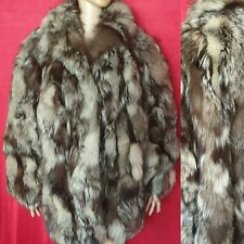 Superb Real Silver Fox Pieced Fur Coat Oversized Style