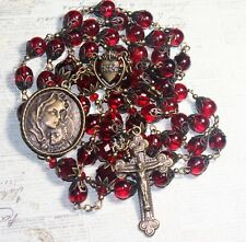 DARK GARNET RED BOHEMIAN GLASS CRYSTAL ANTIQUE BRONZE HANDMADE ROSARY& FR.GIFT