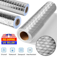 Water/Oil Proof Wall Stickers Paper Self Adhesive Aluminum Foil Kitchen Decor US