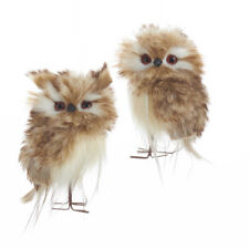 Brown and White Owls Ornaments