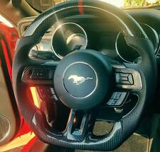 Mustang GT 2015+ D-Cut Carbon Fiber Steering Wheel with Leather