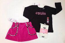 NWT Gymboree Wild One 18-24 Black Cutie Tee Pink Zebra Trim Skort Skirt & Tights