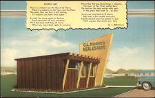 Morro Bay CA Linen Adv GL Morris Real Estate Bldg Art Deco Bldg Postcard