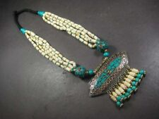 N5289 TRIBAL Bold Bone MULTI Strand Turquoise Resin Dangle Pendant Long NECKLACE