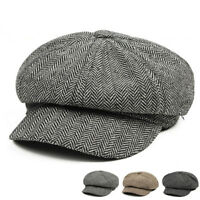 Men Herringbone Newsboy Ivy Cap Bunnet Beret Golf Tweed Cabbie Gatsby Hat TR