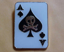 *Ace of Spades Skull & Cross Bones. Army Death Card .Hat Pin/Lapel Pin/