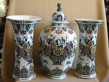 LARGE DELFT PORCELEYNE FLES GARNITURE SET POLYCHROME