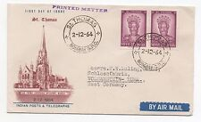 1964 INDIA First Day Cover ST THOMAS SGMS493 Pair BOMBAY to VOLMARSTEIN GERMANY