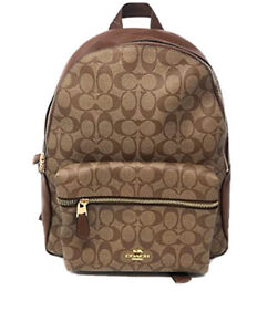 New Coach 39034 Signature Mix Brown Mini Charlie Small Backpack