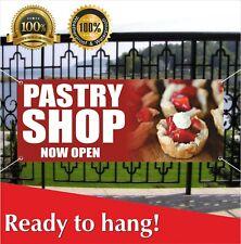 Pastry Shop Now Open Banner Vinyl / Mesh Banner Sign Flag Bakery Cake Cookies