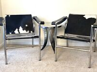 Pair Vintage LC1 Sling Cowhide Designer Chair By Le Corbusier Style ( Italy)