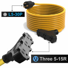 25ft Power Generator Extension Cord Cable 3 Prong 10 Gauge L5 30pthree 5 15r