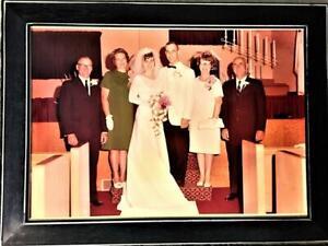 "VINTAGE 1968 WHITE EMPIRE WEDDING DRESS W/TRAIN LACE BEADS Sz 8 ""SOMETHING OLD"""