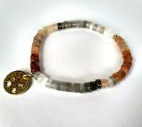 Multi Mondstein Armband ,Anhänger Baum des Lebens, 925 Silber vergoldet