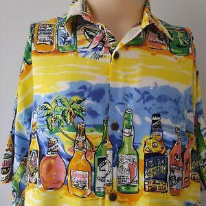 Metro Retro Las Vegas USA Short Sleeve Shirt Size XL Beer Bottles Bar Party
