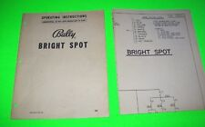 Bright Spot By Bally 1952 Orig. Bingo Pinball Machine Instructions + Schematic
