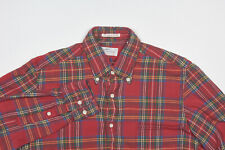 Mens GANT RUGGER Shirt S Dusty Rose Red Green Yellow Tartan Plaid Cotton Flannel