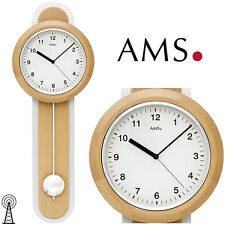 AMS 50 Reloj De Pared Radio Péndulo Para Salón Madera Haya 145