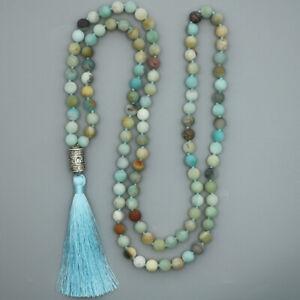 Mala Beads 108 Necklace Amazonite Meditation Prayer Rosary Chakra Reiki 8mm UK