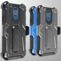 For LG Q7 / Q7 Plus / Q7 Alpha Holster Case Heavy Duty Faux Metal Belt Cover
