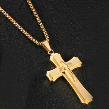 Stainless Steel Christ Cross Crucifix Pendant Necklace Chain for Men Women Gift