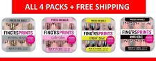 4x FING'RS PRINTS Press-On Nails Gold, Black, Pink, Colorful - New - Lot of 4