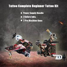 Beginner Complete Tattoo Kit 2 Machine Gun 7 Color Ink Power Supply Tip KW