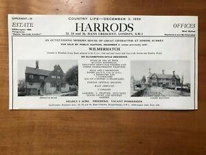 Wilmerhatch - Epsom - Surrey - For Sale - 1959 Press Cutting r399