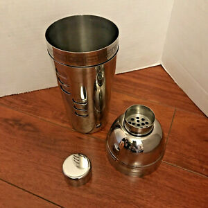 Stainless Steel Cocktail Shaker Drink Mixer w/ 15 Dial-a-Drink Recipes EUC