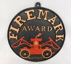 Vintage  Allstate Fireman Award Black Cast Metal Red Fire Engine Heavy PLAQUE