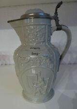 antiker Keramik Krug Wein-Weib-Gesang mit Deckel Villeroy & Boch Mettlach  1920
