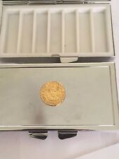 Elizabeth I Quarter Angel Coin WC51 Gold On Mirrored 7 Day Pill box Compact