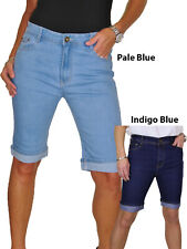 ICE Stretch Denim Jeans Shorts Contrast Turn Cuff Blue 10-20