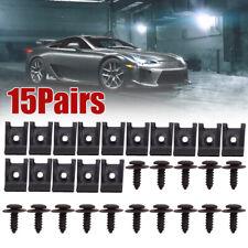 15 Set Spring Metal U type Clip with Screw Car Bumper Fender Trim Panel Fastener
